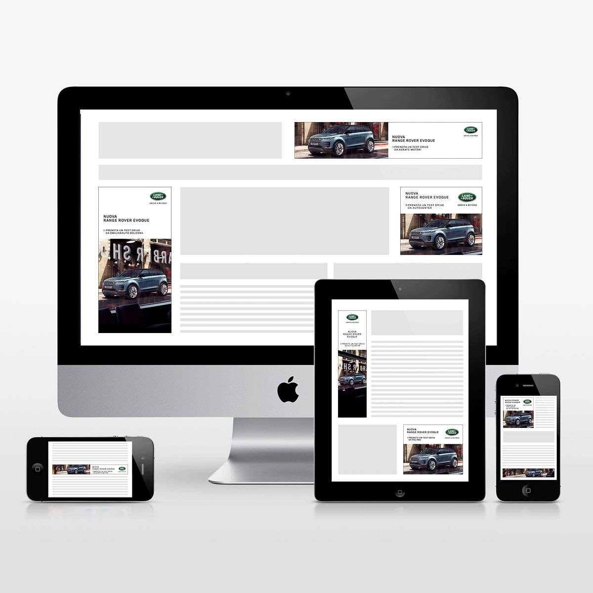Schermo desktop, tablet e mobile con banner in varie dimensioni della Campagna Advertising Online Rete Display della Nuova Range Rover Evoque - adattata per i dealer in Italia
