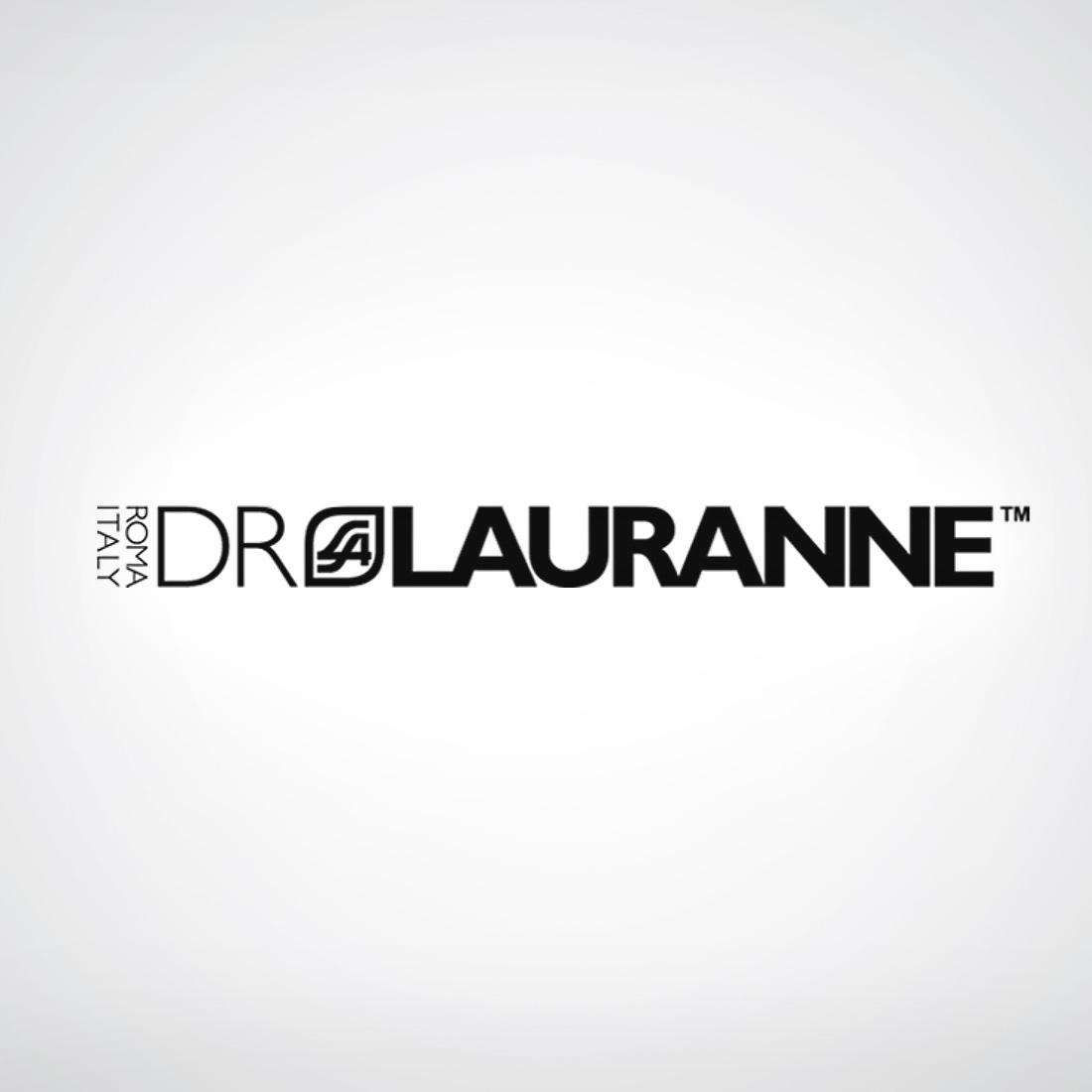 DrLauranne logo su sfondo grigio