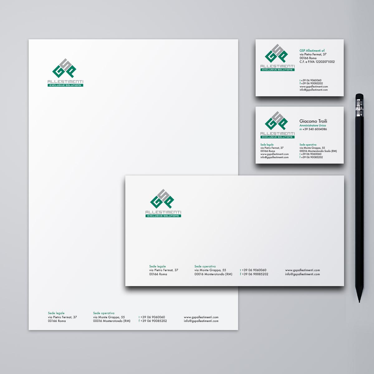 GSP Allestimenti immagine coordinata aziendale - biglietti da visita, carta intestata, busta