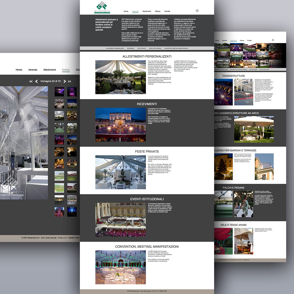 Pagine interne del sito web GSP Allestimenti