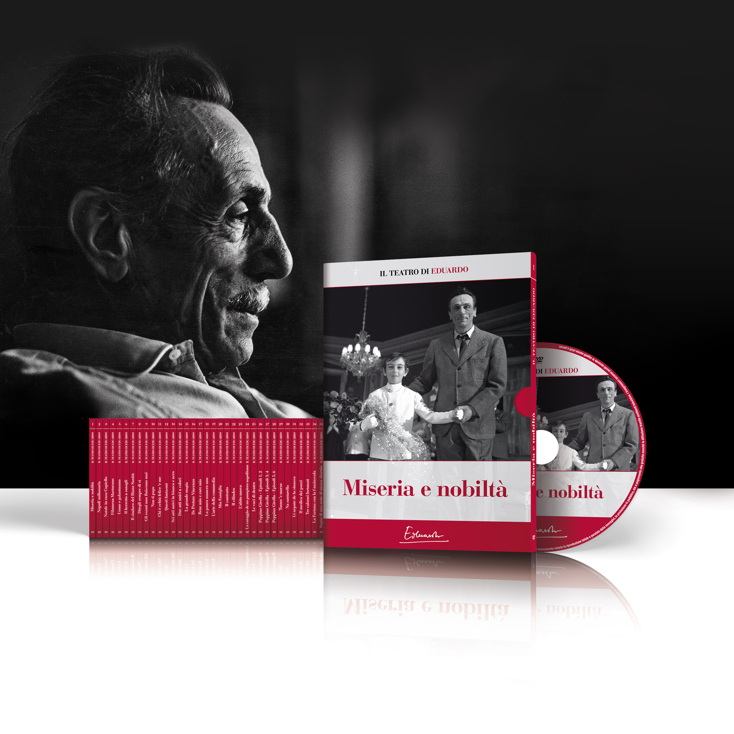 Il teatro di Eduardo De Filippo - packshot del packaging della collana DVD di 35 commedie opera intera