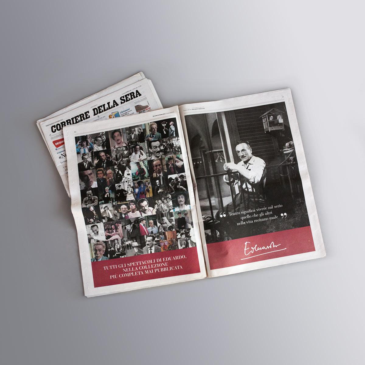 Il teatro di Eduardo De Filippo - collana DVD di 35 commedie opera intera - pagine pubblicitarie sul giornale Corriere della Sera