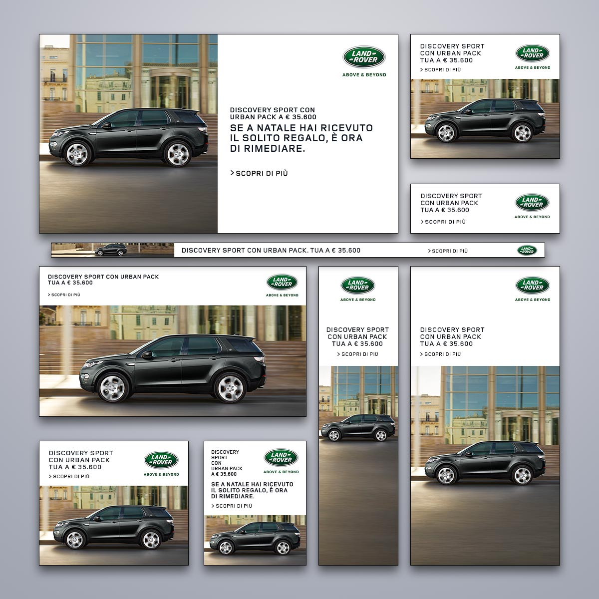Banner in varie dimensioni - Campagna Display Advertising Online per Land Rover Discovery Sport - Urban Pack