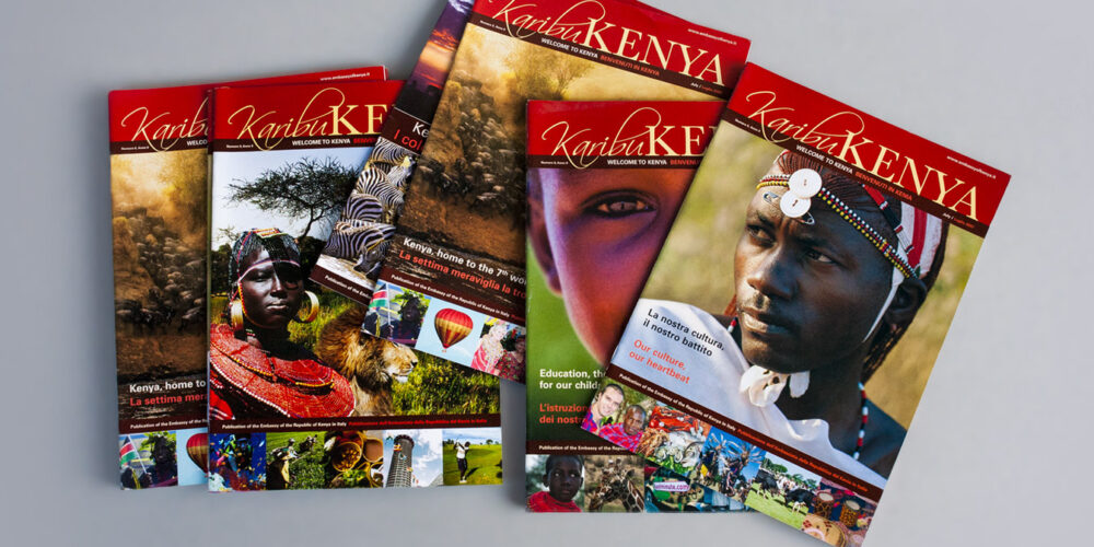 Copertine della rivista Karibu Kenya per Ambasciata del Kenya a Roma