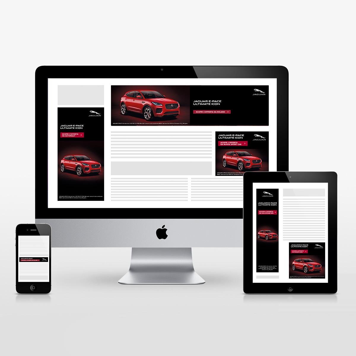 Schermo desktop, tablet e mobile con banner in varie dimensioni della Campagna Advertising Online Rete Display della Jaguar E-PACE Ultimate Icon - adattata per i dealer in Italia