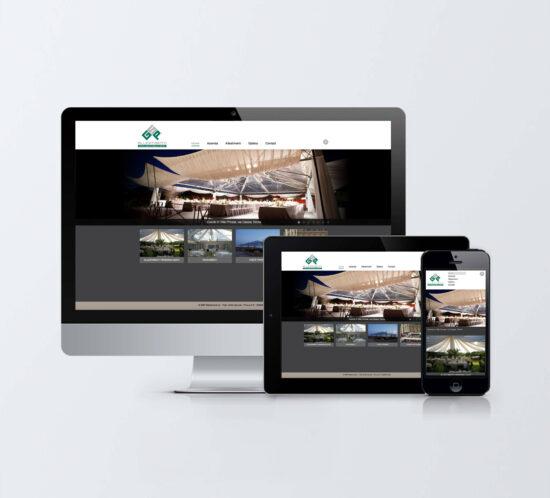 Monitor desktop, tablet e mobile con homepage sito web GSP Allestimenti