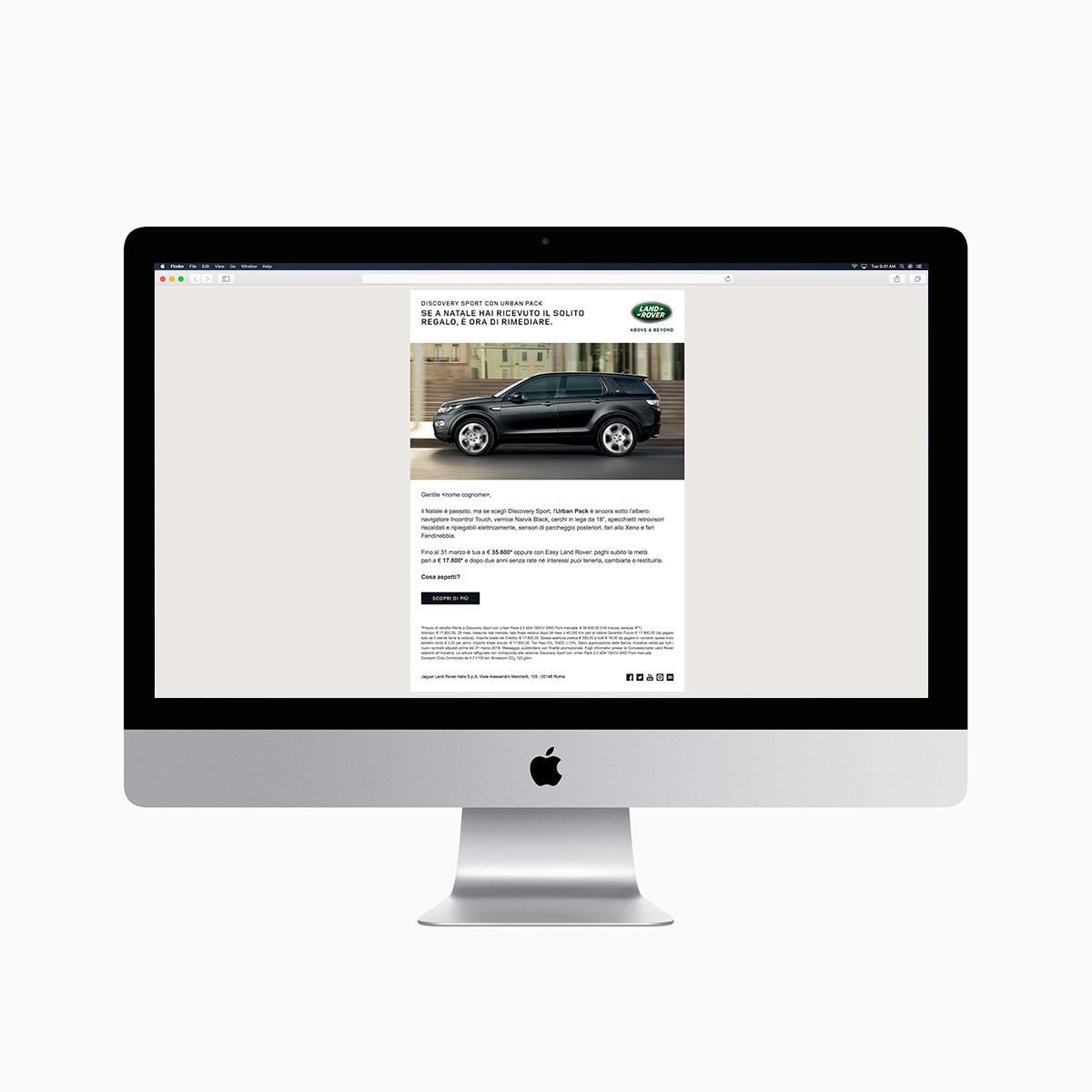 Monitor iMac con DeM Campagna Display Online Advertising per la Land Rover Discovery Sport - Urban Pack