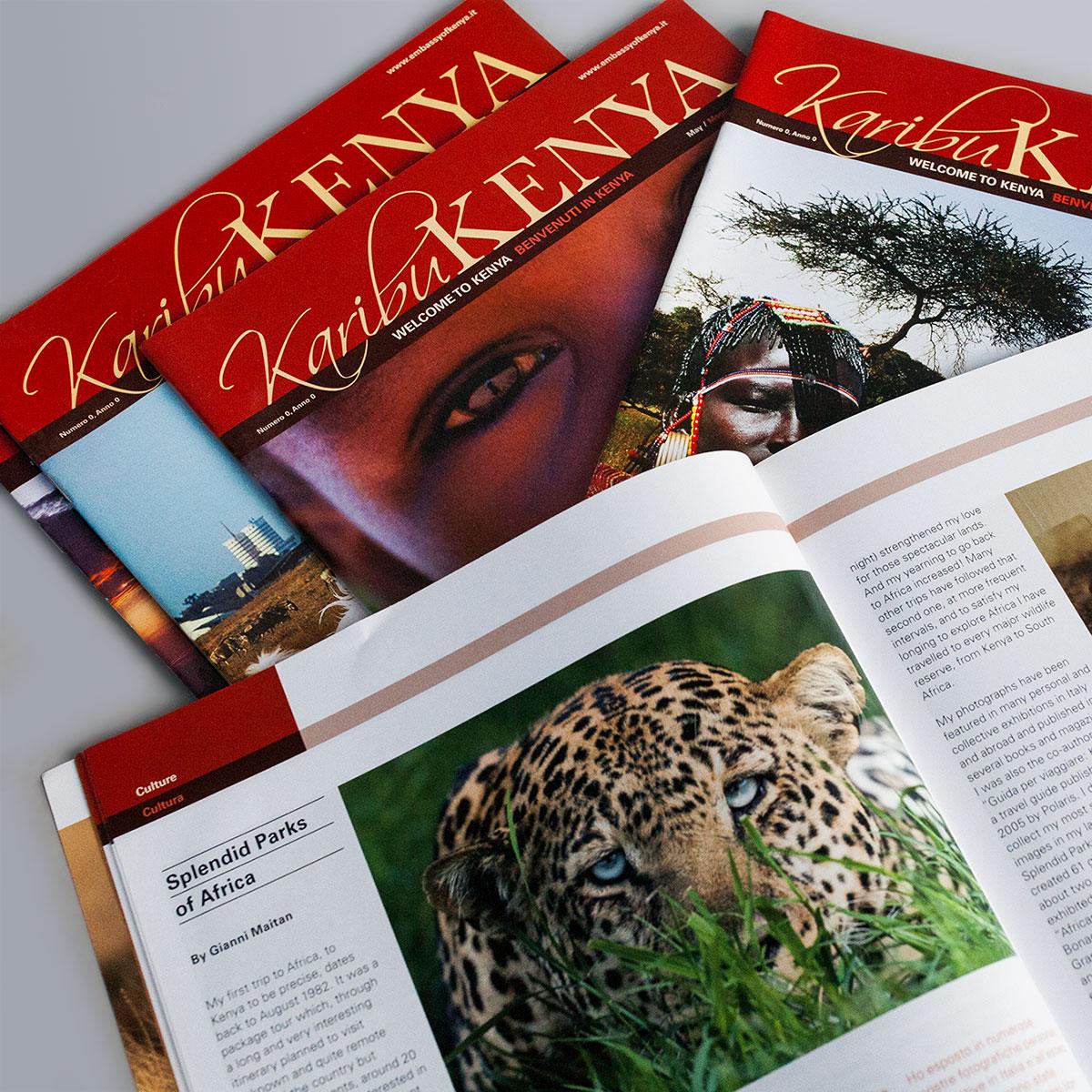 Rivista Karibu Kenya - copertine e pagina interna