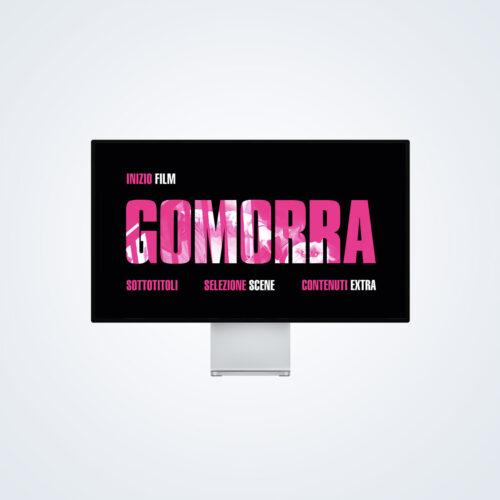 TV monitor con main menu di Gomorra in Blu-Ray e DVD