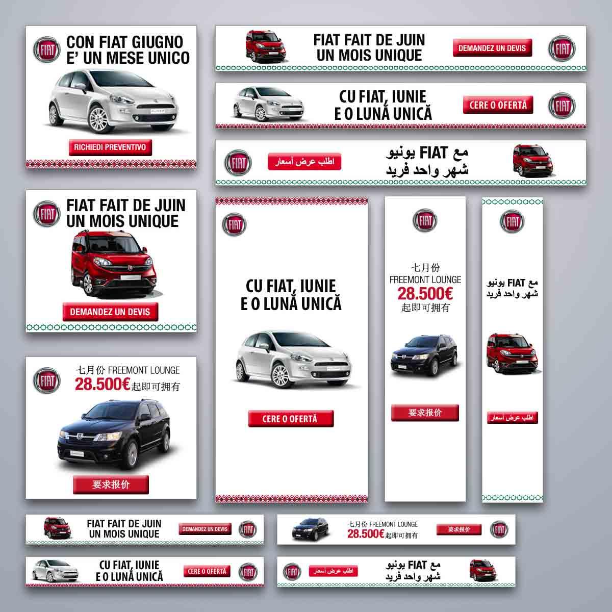 Banner in 4 lingue in varie dimensioni - Campagna Display Advertising Online per FIAT
