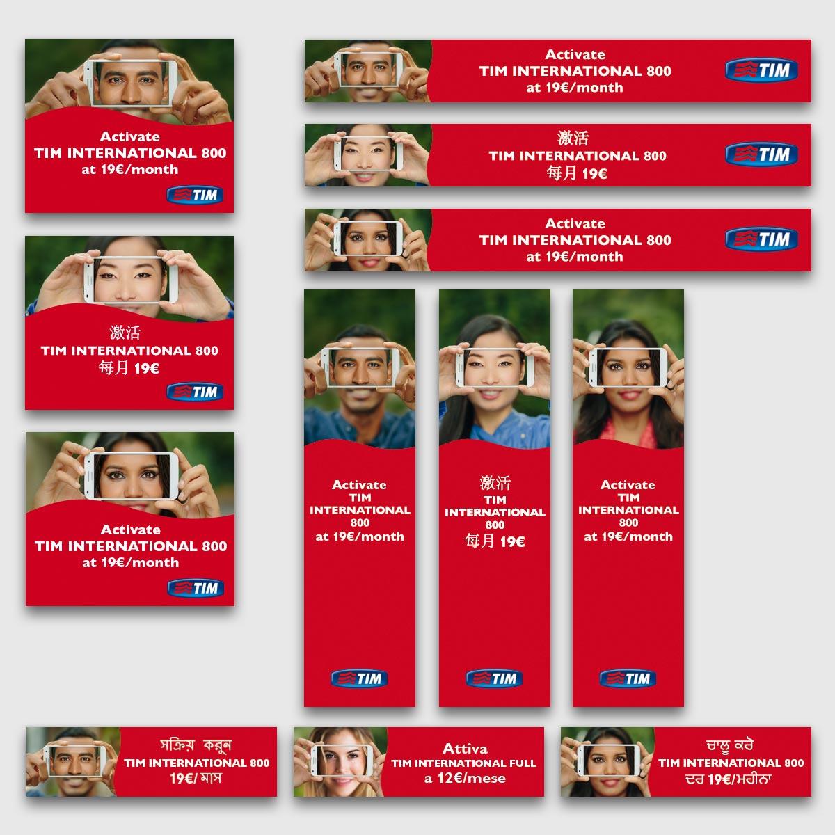 Banner in 3 lingue in varie dimensioni - Campagna Display Advertising Online per Tim International
