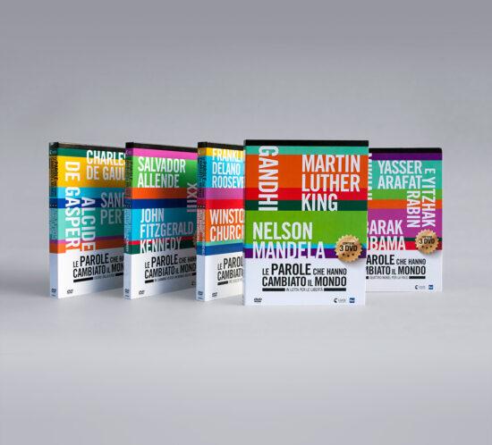 Cofanetti chiusi dei 5 digipack della collana DVD Le parole che hanno cambiato il mondo per Luce Cinecittà