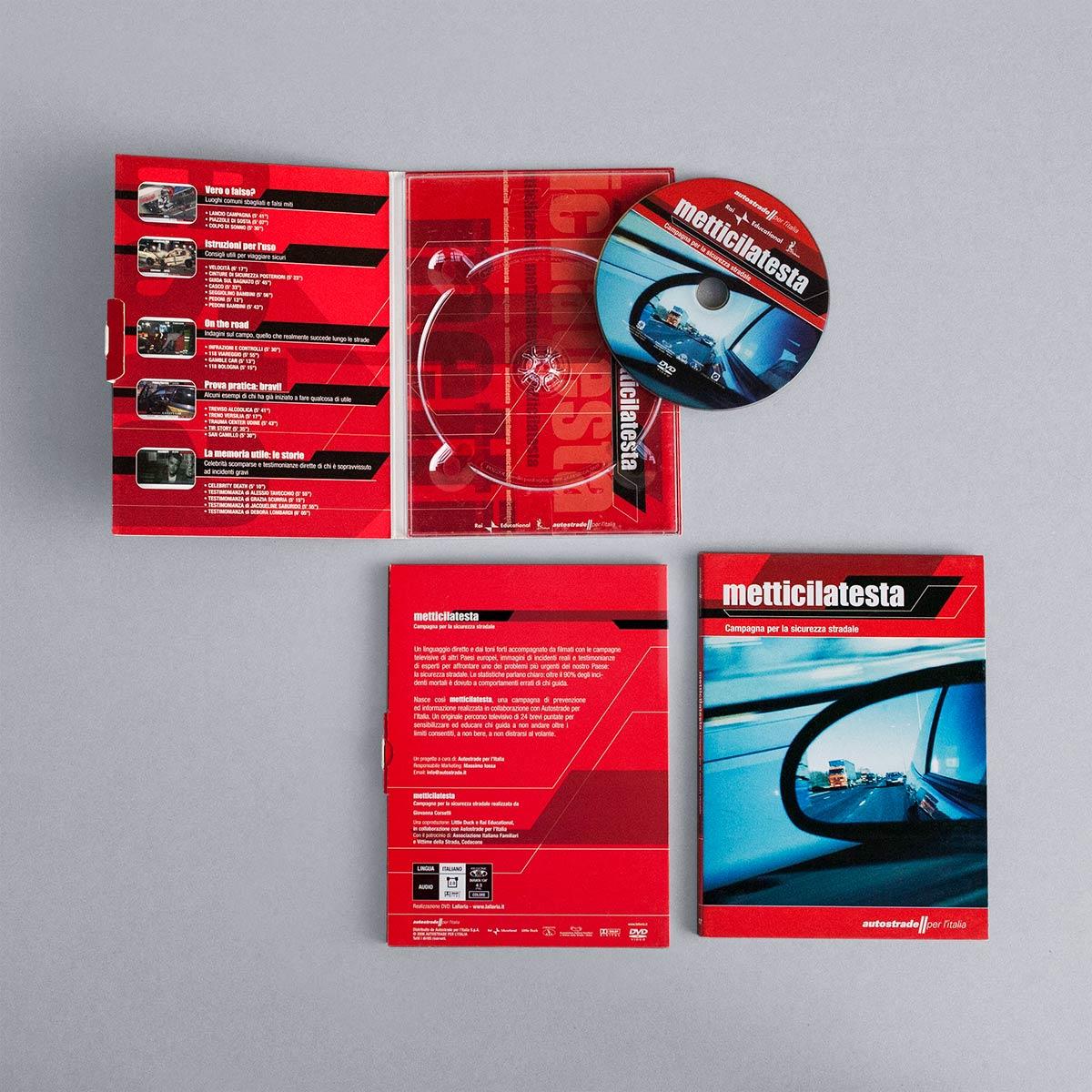 Digipack aperto e chiuso e label del DVD Metticilatesta