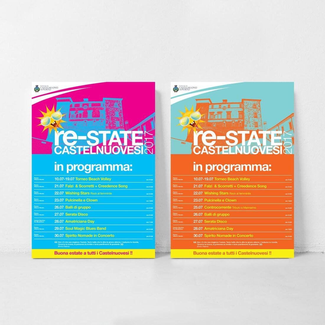 Due manifesti Re-State Castelnuovesi - Programma di eventi estivi a Castelnuovo di Porto
