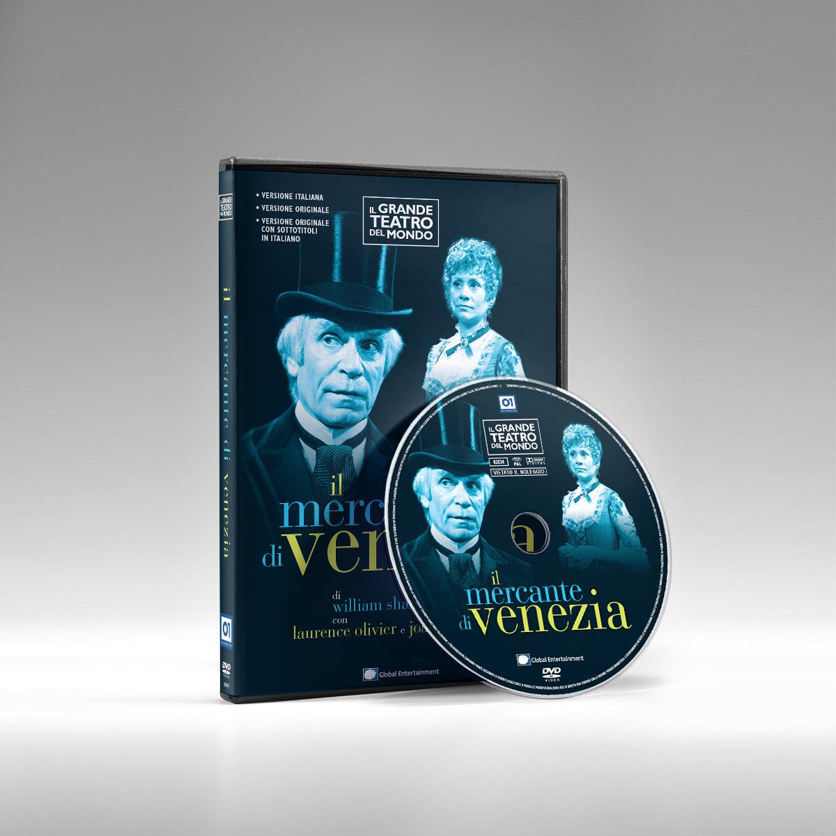 Packshot con fascetta e label di Il mercante di Venezia - Collana DVD Il Grande Teatro del mondo