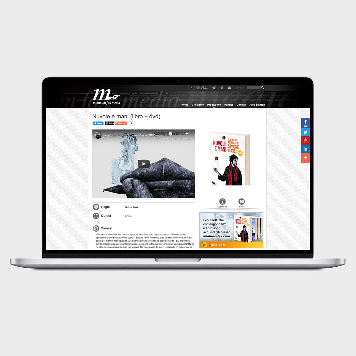 Monitor computer portatile con pagina prodotto Nuvole e mani del sito web Miinimum Fax Media