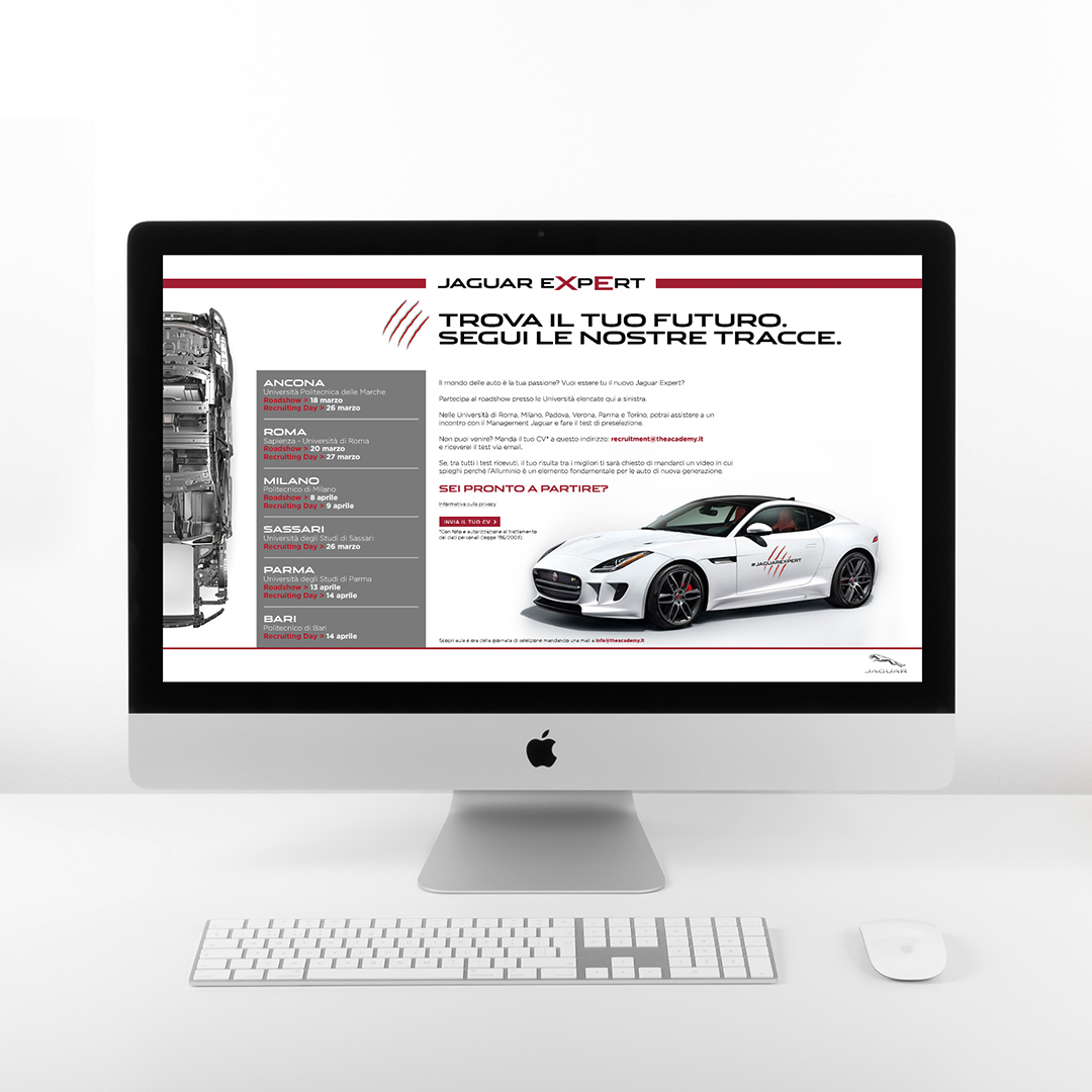 Monitor iMac con landing page Jaguar Expert Recruiting