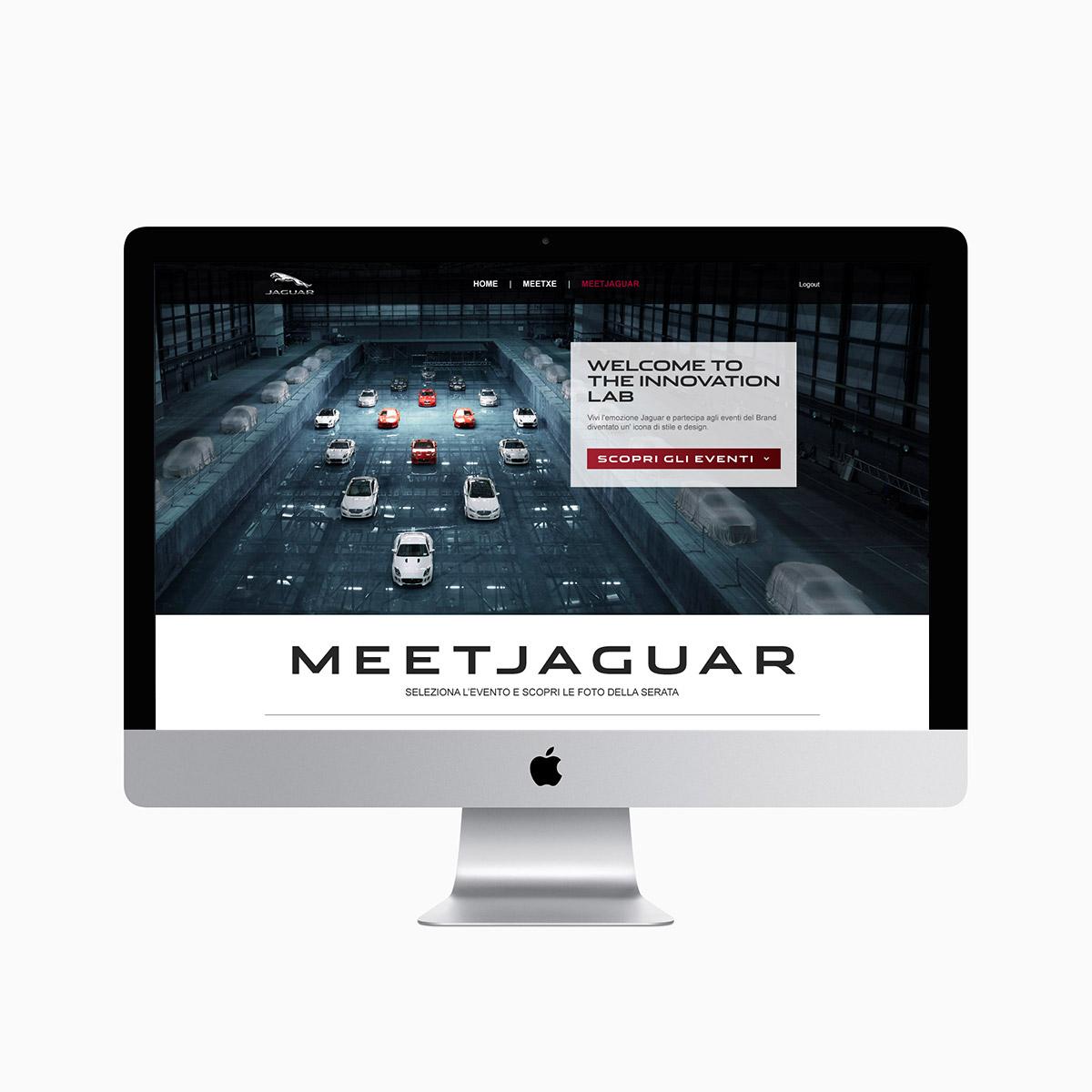 Monitor iMac con pagina Meet Jaguar dedicata agli eventi del brand Jaguar