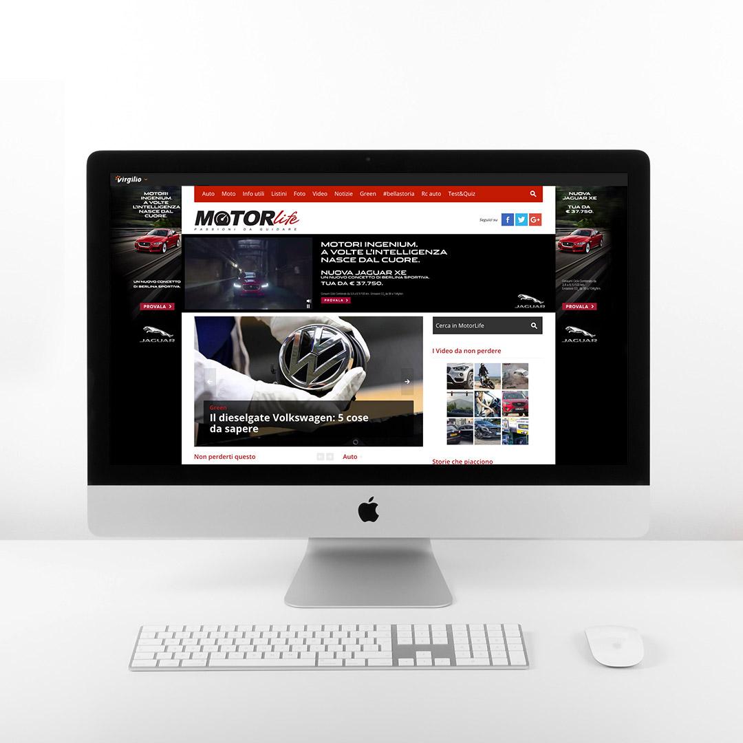 Monitor iMac con skin e rich media banner della Campagna Advertising Online della Jaguar XE