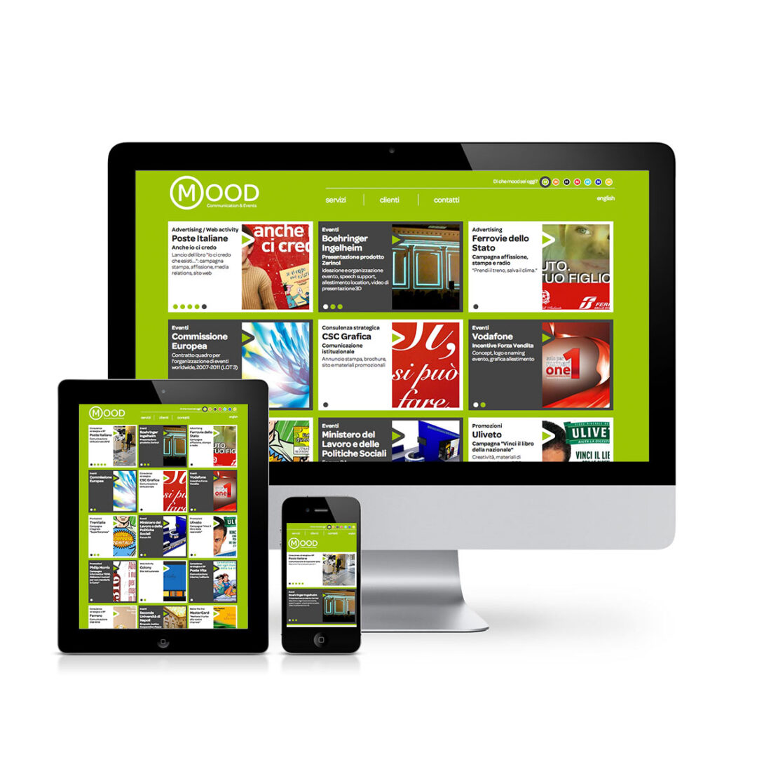 Schermo desktop, tablet e mobile con homepage del sito web per Mood Communication & Events