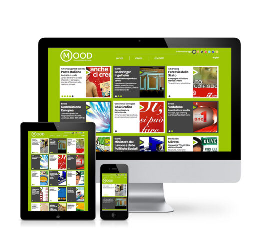 Schermo desktop, tablet e mobile con homepage del sito web per Mood Communication & Events