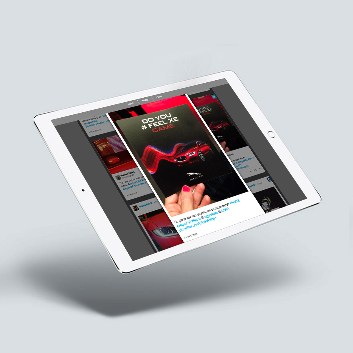 Tablet con post Twitter della cartolina Do You #FeelXE Game per Jaguar XE